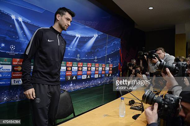 Paris SaintGermain's Argentinian midfielder Javier pastore arrives for a press conference at the Camp Nou stadium in Barcelona on April 20 on the eve...