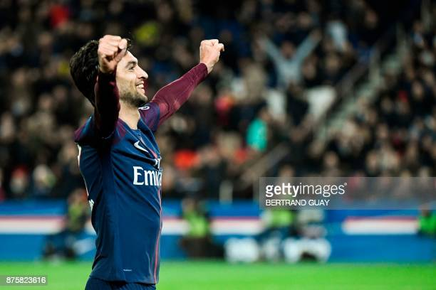 Paris SaintGermain's Argentinian midfielder Javier Pastore celebrates after he scored his team's third goal during the French L1 football match...