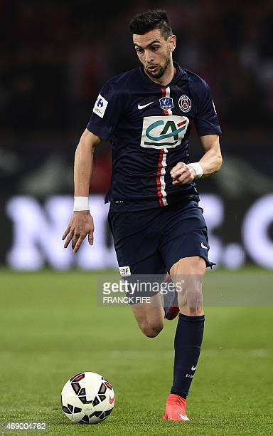 Paris SaintGermain's Argentinian midfielder Javier Pastore controls the ball during the French Cup semifinal match between Paris SaintGermain and...