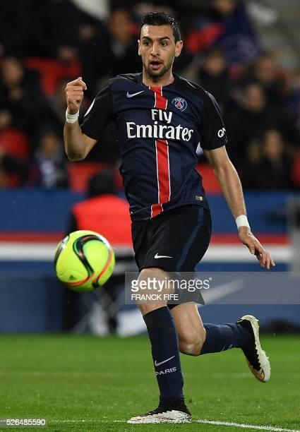 Paris SaintGermain's Argentinian midfielder Javier Pastore controls the ball during the French L1 football match between Paris SaintGermain and...