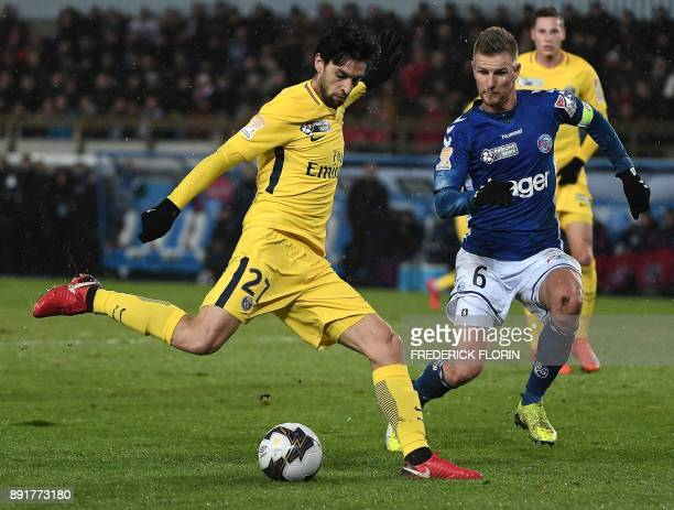 Paris SaintGermain's Argentinian midfielder Javier Pastore kicks the ball during the French League Cup round of 16 football match between Strasbourg...