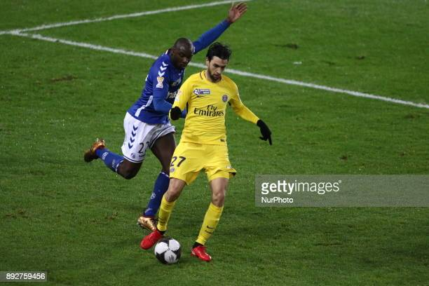 Paris SaintGermain's Argentinian midfielder Javier Pastore kicks the ball during the french League Cup match Round of 16 between Strasbourg and Paris...
