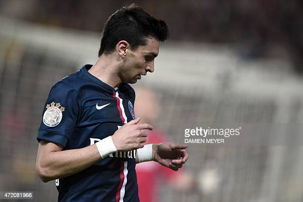 Paris SaintGermain's Argentinian midfielder Javier pastore looks on during the French L1 football match between Nantes and Paris SaintGermain on May...