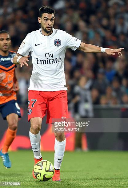 Paris SaintGermain's Argentinian midfielder Javier pastore runs with the ball during the French L1 football match between Montpellier and Paris Saint...
