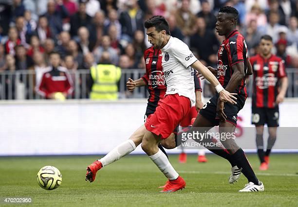 Paris SaintGermain's Argentinian midfielder Javier Pastore shoots to score a goal during the French L1 football match Nice vs Paris SaintGermain on...