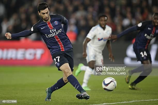 Paris SaintGermain's Argentinian midfielder Javier Pastore strikes during the French L1 football match Paris SaintGermain vs Olympique de Marseille...