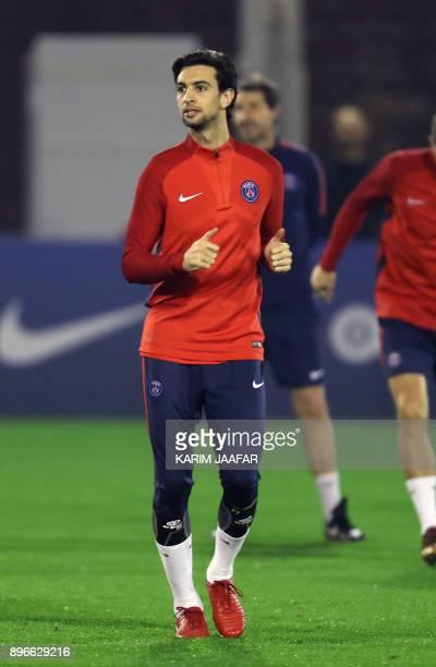 Paris SaintGermain's Argentinian midfielder Javier Pastore takes part in a winter training camp in the Qatari capital Doha on December 21 2017 / AFP...