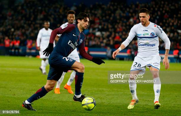 Paris SaintGermain's Argentinian midfielder Javier Pastore vies with Strasbourg's French midfielder Jonas Martin during the French Ligue 1 football...