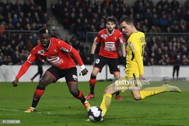 Paris SaintGermain's Argentinian midfielder Paris SaintGermain's Argentinian midfielder Giovanni Lo Celso scores a goal during the French League Cup...