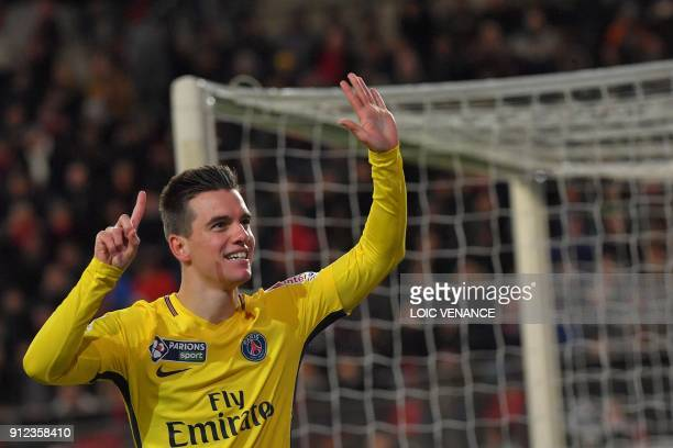 Paris SaintGermain's Argentinian midfielder Paris SaintGermain's Argentinian midfielder Giovanni Lo Celso celebrates after scoring a goal during the...