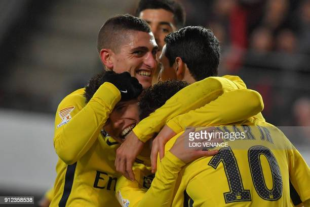 Paris SaintGermain's Argentinian midfielder Paris SaintGermain's Argentinian midfielder Giovanni Lo Celso celebrates with teammates after scoring a...