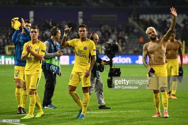 Paris SaintGermain's Belgian defender Thomas Meunier Paris SaintGermain's Argentinian midfielder Giovanni Lo Celso Paris SaintGermain's Brazilian...