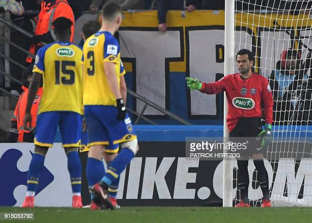Paris SaintGermain's Brazilian defender Daniel Alves plays as goalkeeper after Paris SaintGermain's German goalkeeper Kevin Trapp received a red card...