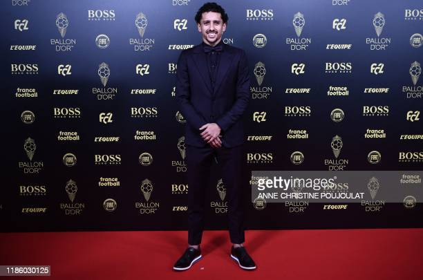 Paris SaintGermain's Brazilian defender Marquinhos arrives to attend the Ballon d'Or France Football 2019 ceremony at the Chatelet Theatre in Paris...