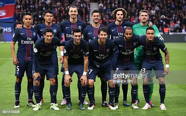 Paris SaintGermain's Brazilian defender Marquinhos Brazilian defender Thiago Silva Swedish forward Zlatan Ibrahimovic Italian midfielder Thiago Motta...