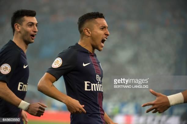 Paris Saint-Germain's Brazilian defender Marquinhos celebrates after scoring a goal during the French L1 football match Olympique de Marseille vs...