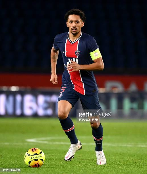 Paris Saint-Germain's Brazilian defender Marquinhos plays the ball during the French L1 football match between Paris Saint-Germain and Angers at the...