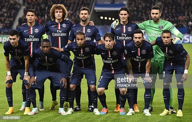 Paris SaintGermain's Brazilian defender Thiago Silva Brazilian defender David Luiz Italian midfielder Thiago Motta Uruguyan forward Edinson Cavani...