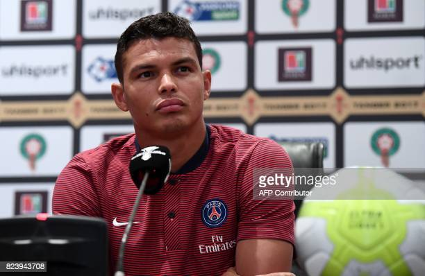 Paris SaintGermain's Brazilian defender Thiago Silva holds a press conference at the Grand Stade in Tangiers on July 28 2017 on the eve of the French...