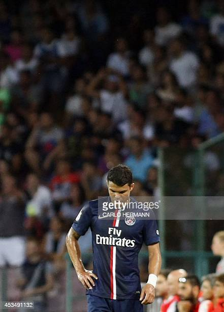 Paris SaintGermain's Brazilian defender Thiago Silva leaves the pitch after being injured during the friendly football match between SSC Napoli and...