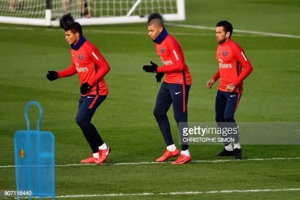 Paris SaintGermain's Brazilian defender Thiago Silva Paris SaintGermain's French forward Kylian Mbappe and Paris SaintGermain's Brazilian defender...