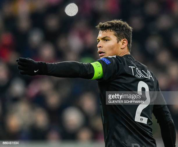 Paris SaintGermain's Brazilian defender Thiago Silva reacts during the UEFA Champions League football match between Paris SaintGermain and Bayern...