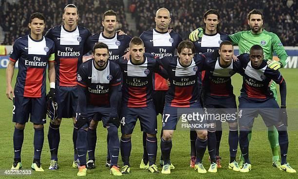 Paris SaintGermain's Brazilian defender Thiago Silva Swedish forward Zlatan Ibrahimovic Italian midfielder Thiago Motta Brazilian defender Alex Costa...