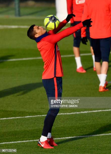 Paris SaintGermain's Brazilian defender Thiago Silva takes part in a training session at the club's training ground in SaintGermainenLaye on January...
