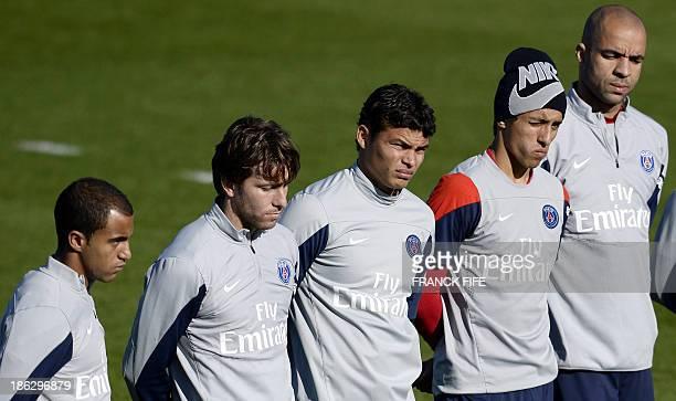 Paris SaintGermain's Brazilian forward Lucas Moura Brazilian defender and captain Thiago Silva Brazilian defender Maxwell Brazilian defender...