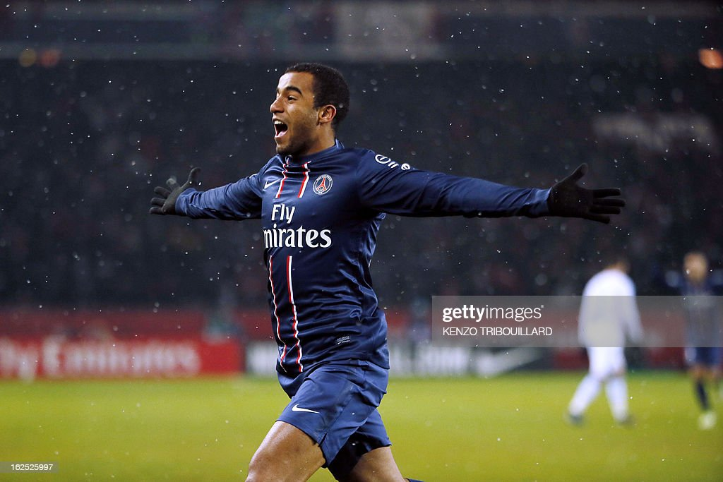 Paris Saint-Germain's Brazilian forward Lucas Moura celebrates after scoring during the French L1 football match Paris Saint-Germain (PSG) vs Olympique de Marseille (OM) on February 24, 2013 at the Parc des Princes stadium in Paris.