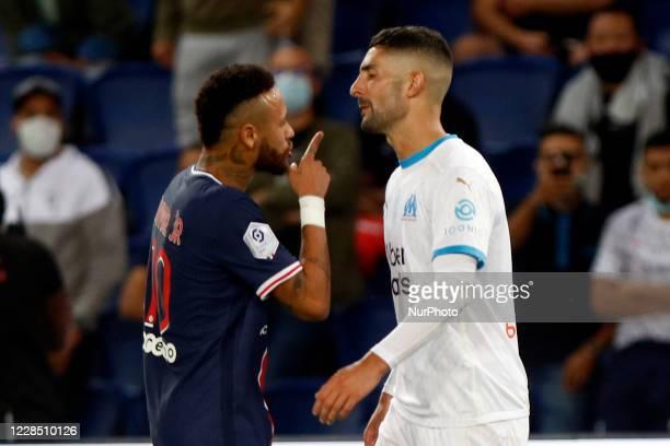 Paris Saint-Germain's Brazilian forward Neymar and Marseille's Alvaro Gonzales during the French L1 football match between Paris Saint-Germain and...