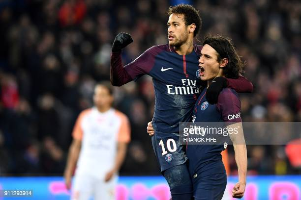 Paris SaintGermain's Brazilian forward Neymar and Paris SaintGermain's Uruguayan forward Edinson Cavani celebrate a goal during the French L1...