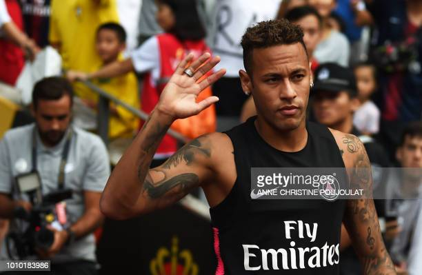 Paris SaintGermain's Brazilian forward Neymar attends a training session at Universiade Stadium in Shenzhen on August 3 2018 on the eve of the French...