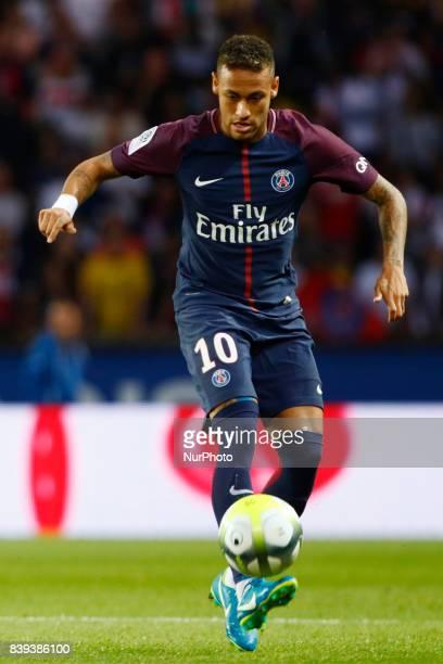 Paris SaintGermain's Brazilian forward Neymar attends the French L1 football match between Paris SaintGermain and SaintEtienne on August 25 at the...