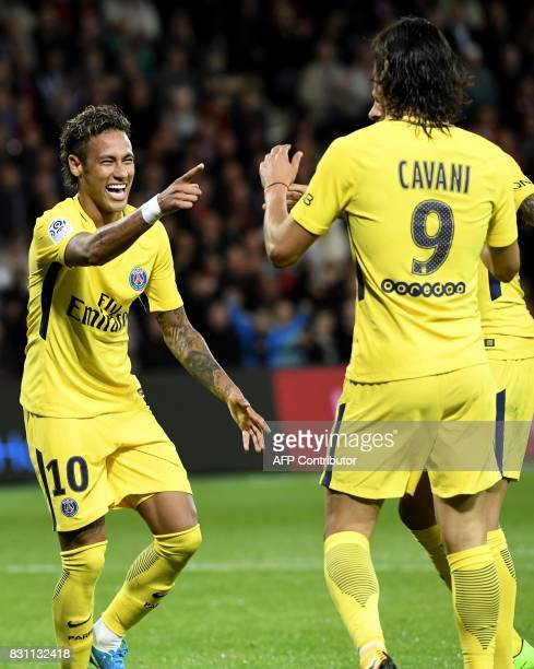 Paris SaintGermain's Brazilian forward Neymar celebrates after a goal during the French L1 football match Guingamp against Paris SaintGermain on...