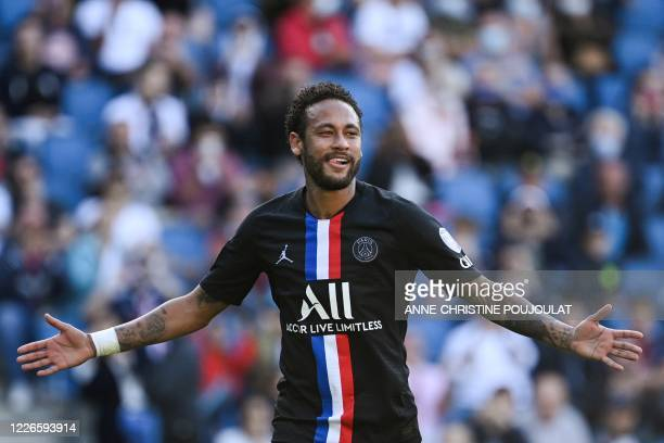 Paris Saint-Germain's Brazilian forward Neymar celebrates after scoring a goal during the Friendly football match between Le Havre Athletic Club and...