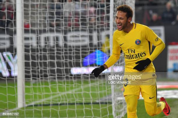 Paris SaintGermain's Brazilian forward Neymar celebrates after scoring during the French L1 football match between Rennes and Paris Saint Germain on...