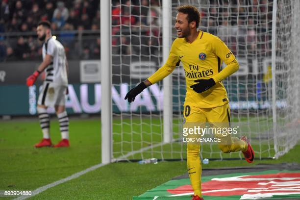 Paris SaintGermain's Brazilian forward Neymar celebrates after scoring a goal during the French L1 football match between Rennes and Paris Saint...