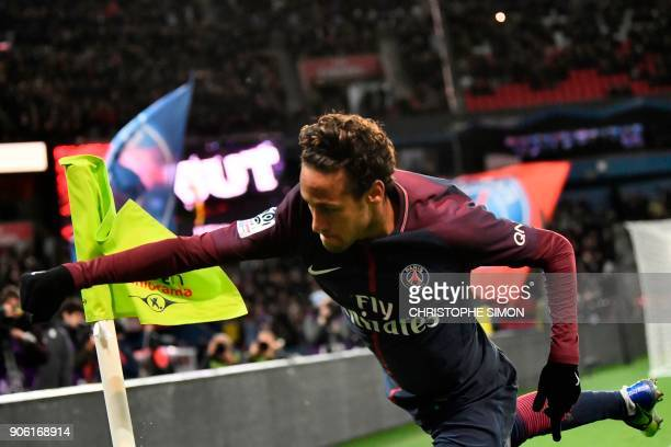 Paris SaintGermain's Brazilian forward Neymar celebrates after scoring his team's fifth goal during the French L1 football match between Paris...
