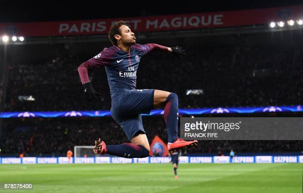 Paris SaintGermain's Brazilian forward Neymar celebrates his goal during the UEFA Champions League Group B football match between Paris SaintGermain...