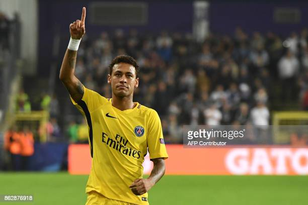 Paris SaintGermain's Brazilian forward Neymar celebrates scoring a goal during the UEFA Champions League Group B football match between RSC...