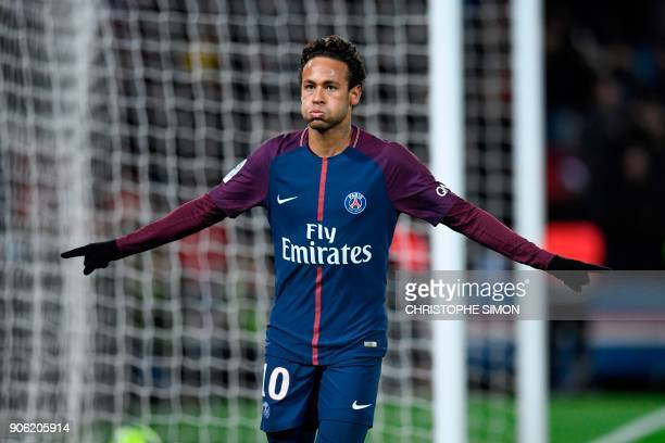 Paris SaintGermain's Brazilian forward Neymar celebrates scoring his team's fifth goal during the French L1 football match between Paris SaintGermain...