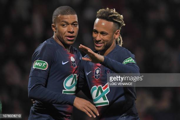TOPSHOT Paris SaintGermain's Brazilian forward Neymar celebrates with Paris SaintGermain's Kylian Mbappe after scoring a goal during the French Cup...
