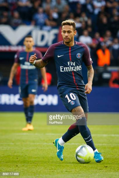 Paris SaintGermain's Brazilian forward Neymar controls the ball during the French L1 football match between Paris SaintGermain and Bordeaux at the...