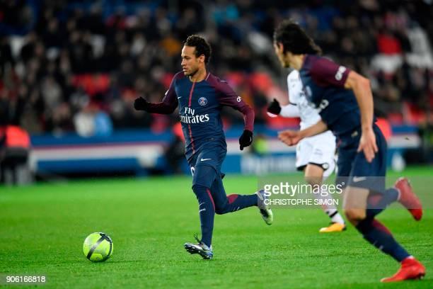Paris SaintGermain's Brazilian forward Neymar controls the ball during the French L1 football match between Paris SaintGerman and Dijon on January 17...
