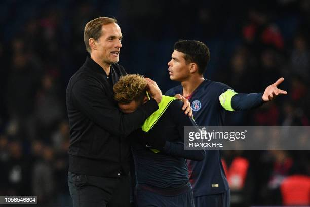 Paris SaintGermain's Brazilian forward Neymar is congratulated by Paris SaintGermain's German coach Thomas Tuchel at the end of the French L1...