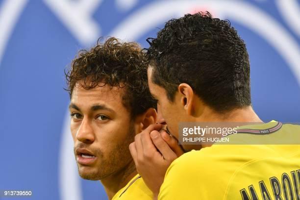 Paris SaintGermain's Brazilian forward Neymar Jr and Paris SaintGermain's Brazilian defender Marquinhos speak together during French L1 football...