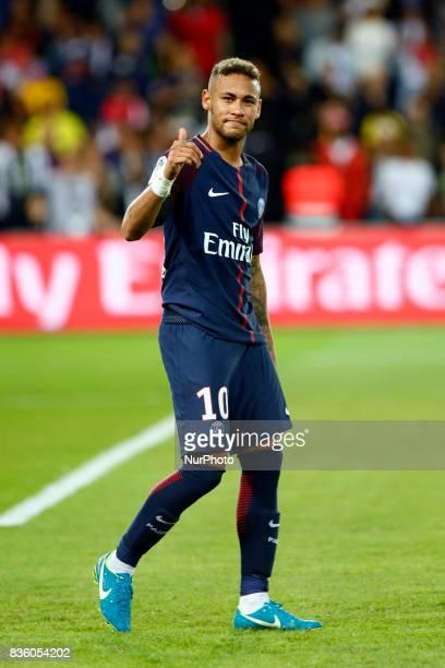 Paris SaintGermain's Brazilian forward Neymar Jr attends the French championship L1 football match between Paris SaintGermain and Toulouse on August...