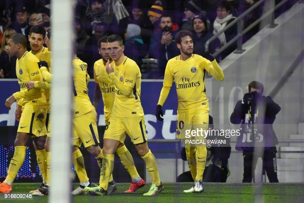 Paris SaintGermain's Brazilian forward Neymar Jr celebrates after opening the scoring during the French L1 football match between Toulouse and Paris...