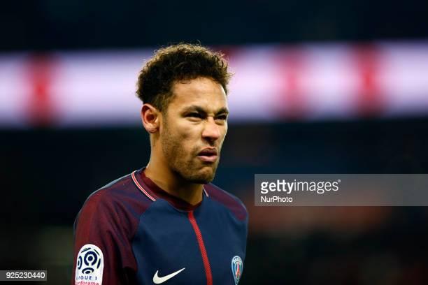 Paris SaintGermain's Brazilian forward Neymar Jr reacts lying on the pitch during the French L1 football match between Paris SaintGermain and...
